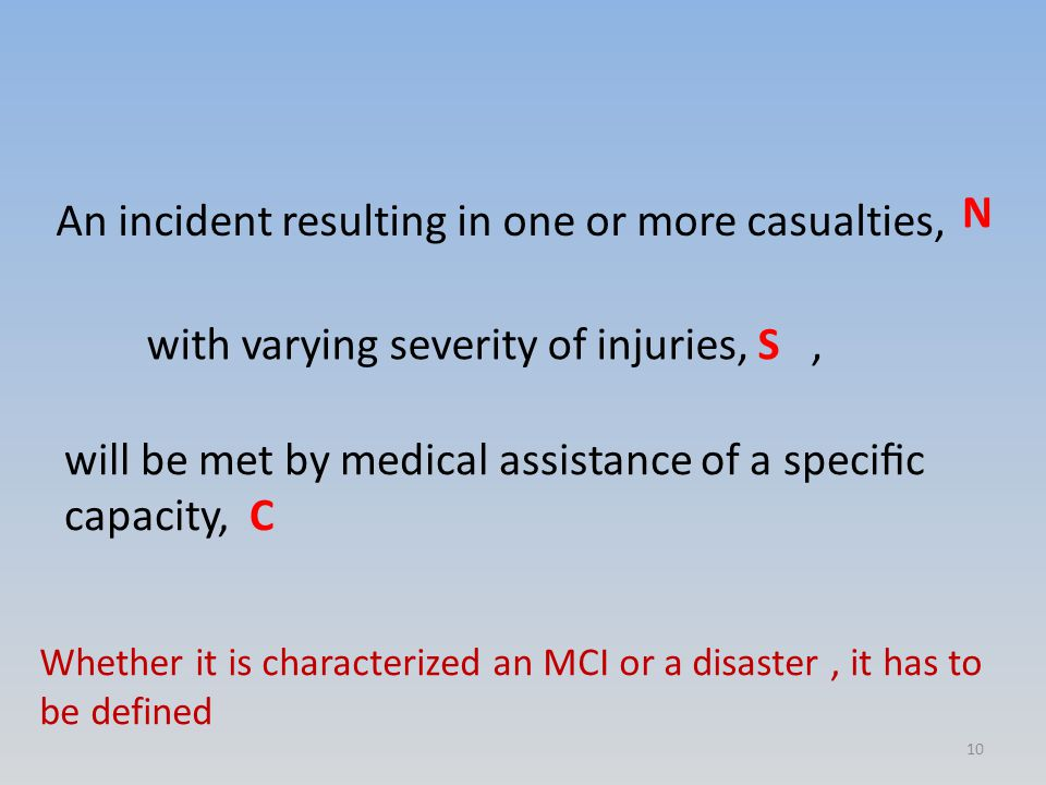 An incident resulting in one or more casualties, N with varying severity of injuries, S, will be met by medical assistance of a specific capacity, C Whether it is characterized an MCI or a disaster, it has to be defined 10