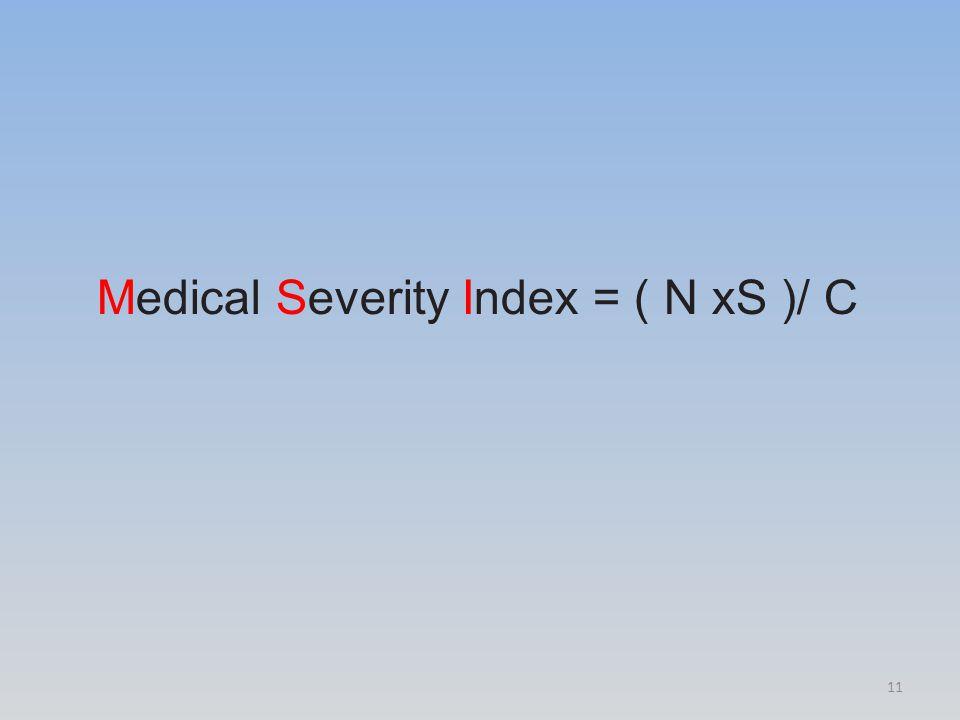Medical Severity Index = ( N xS )/ C 11