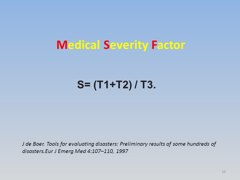 S= (T1+T2) / T3. Medical Severity Factor J de Boer. Tools for evaluating disasters: Preliminary results of some hundreds of disasters.Eur J Emerg Med