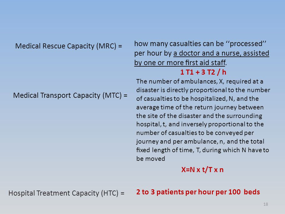 Medical Rescue Capacity (MRC) = how many casualties can be ''processed'' per hour by a doctor and a nurse, assisted by one or more first aid staff.