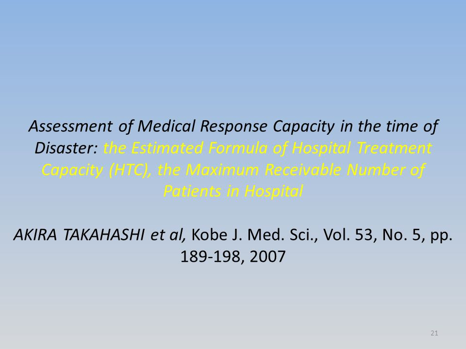Assessment of Medical Response Capacity in the time of Disaster: the Estimated Formula of Hospital Treatment Capacity (HTC), the Maximum Receivable Nu