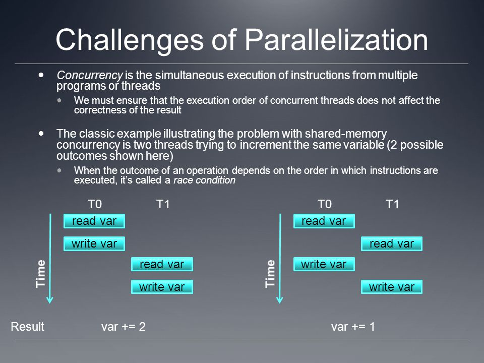 Challenges of Parallelization Concurrency is the simultaneous execution of instructions from multiple programs or threads We must ensure that the exec