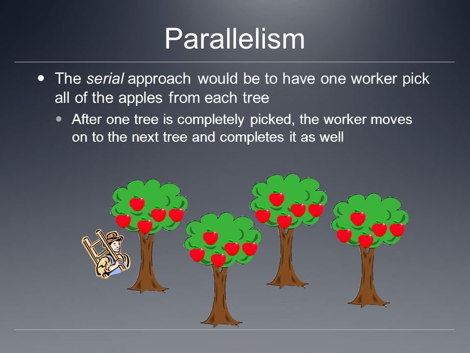 Parallelism The serial approach would be to have one worker pick all of the apples from each tree After one tree is completely picked, the worker move