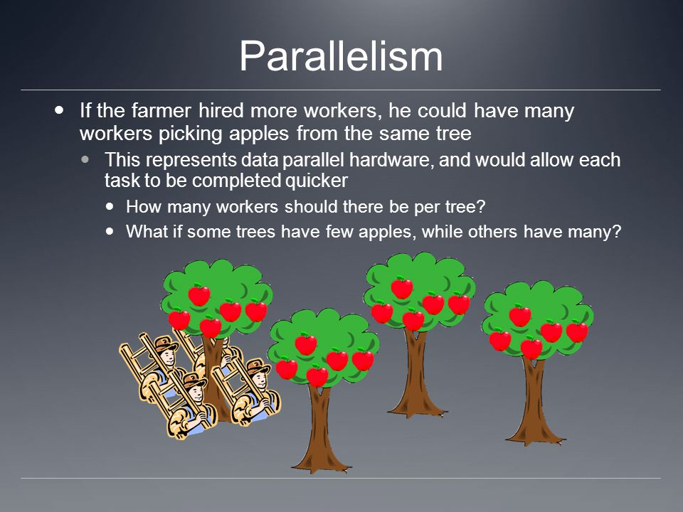Parallelism An alternative would be to have each worker pick apples from a different tree This represents task parallelism, and although each task takes the same time as in the serial version, many are accomplished in parallel What if there are only a few densely populated trees?