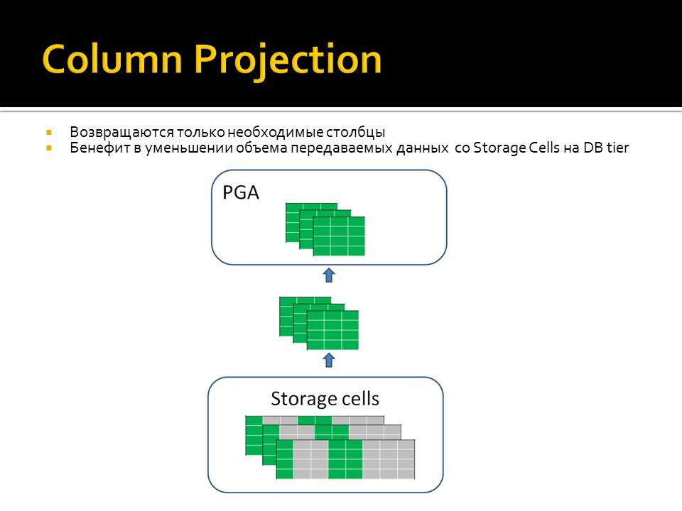  Возвращаются только необходимые столбцы  Бенефит в уменьшении объема передаваемых данных со Storage Cells на DB tier