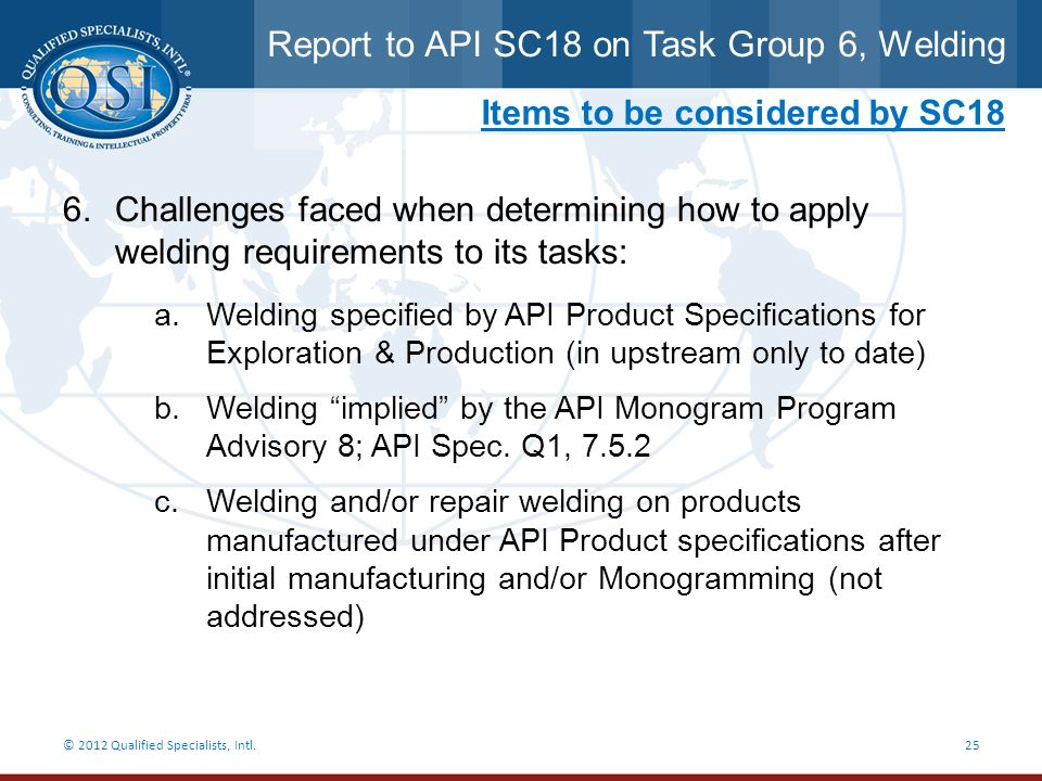 Report to API SC18 on Task Group 6, Welding © 2012 Qualified Specialists, Intl.25 Items to be considered by SC18 6.Challenges faced when determining h