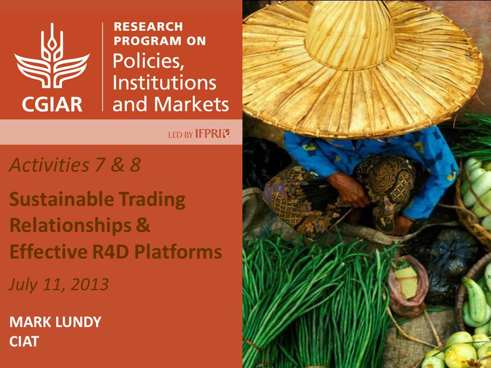 Activities 7 & 8 Sustainable Trading Relationships & Effective R4D Platforms July 11, 2013 MARK LUNDY CIAT