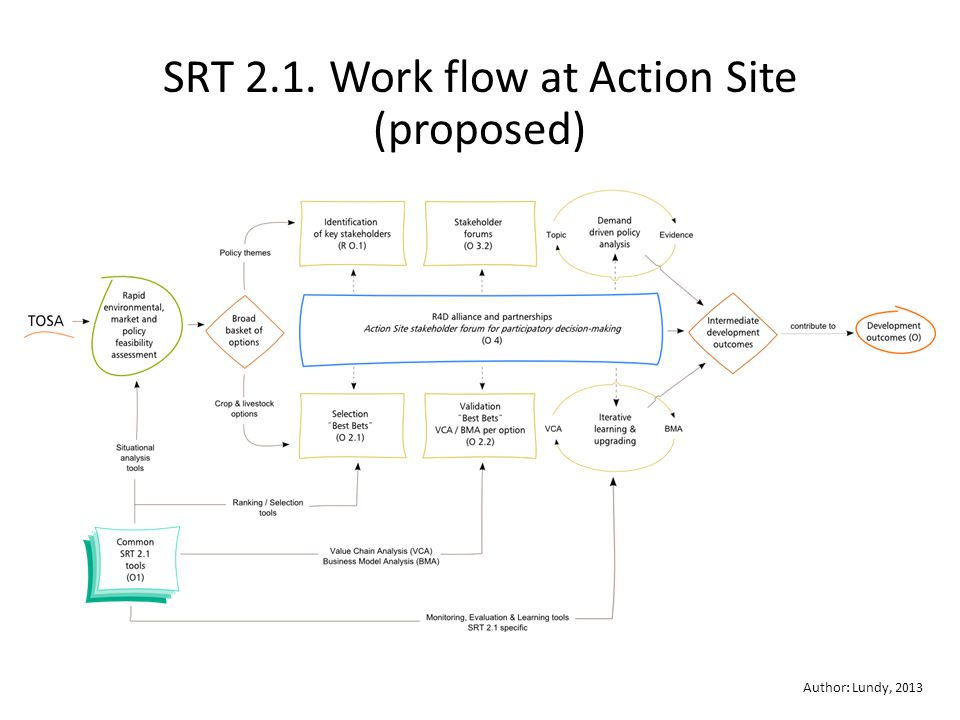 Author: Lundy, 2013 SRT 2.1. Work flow at Action Site (proposed)