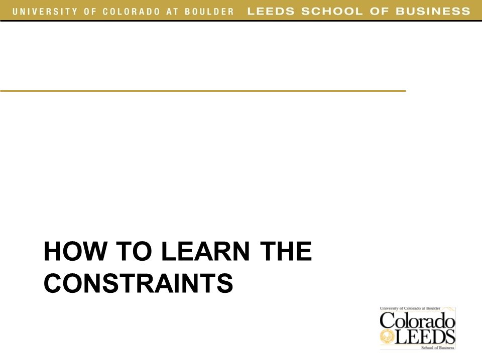 HOW TO LEARN THE CONSTRAINTS