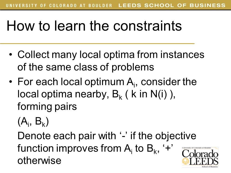 A1A1 A2A2 A3A3 A4A4 B1B1 B2B2 B3B3 B4B4 B5B5 B6B6 B7B7 B8B8 B9B9 B 10 B 11 B 12 - - - + + + + + + + - - How to learn the constraints