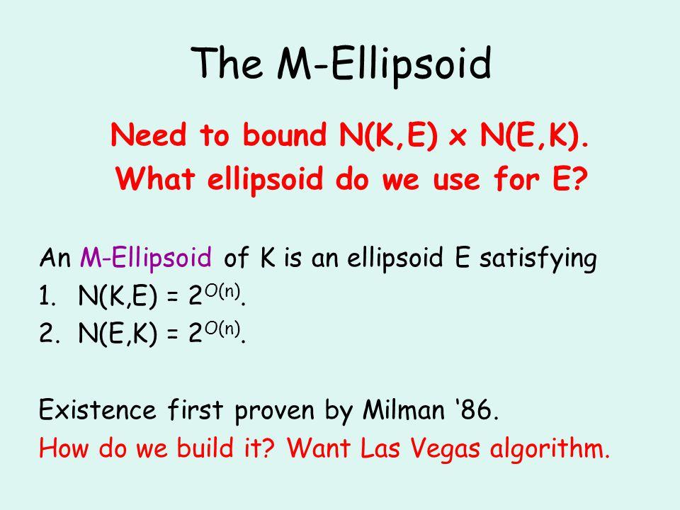 The M-Ellipsoid Need to bound N(K,E) x N(E,K). What ellipsoid do we use for E.