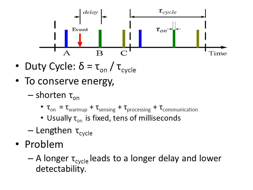 Duty Cycle: δ = τ on / τ cycle To conserve energy, – shorten τ on τ on = τ warmup + τ sensing + τ processing + τ communication Usually τ on is fixed, tens of milliseconds – Lengthen τ cycle Problem – A longer τ cycle leads to a longer delay and lower detectability.