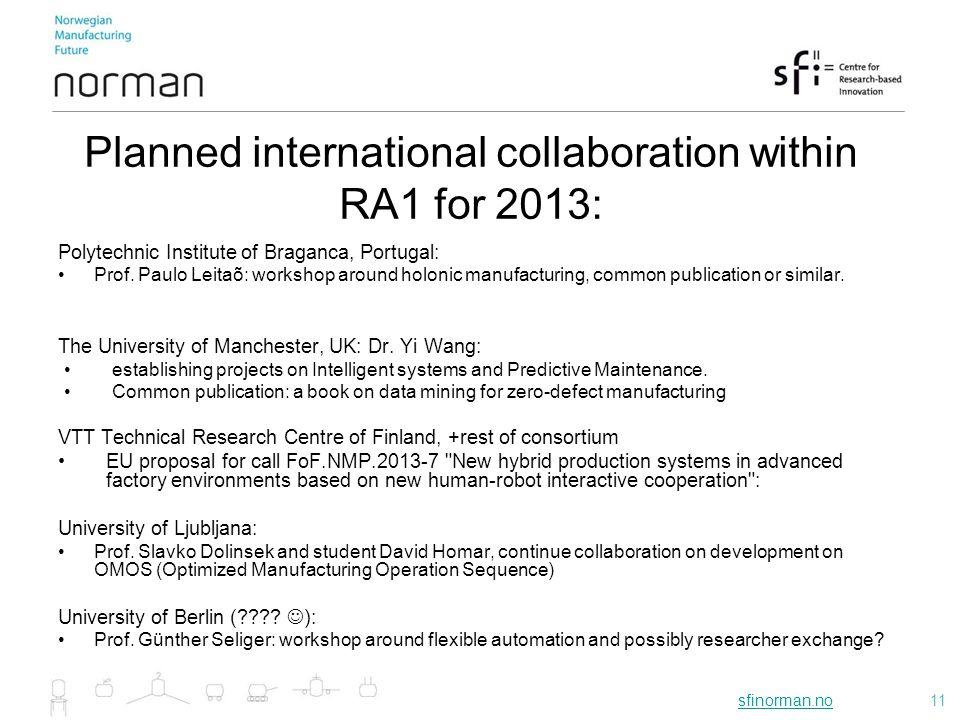 sfinorman.nosfinorman.no11 Planned international collaboration within RA1 for 2013: Polytechnic Institute of Braganca, Portugal: Prof. Paulo Leitaõ: w