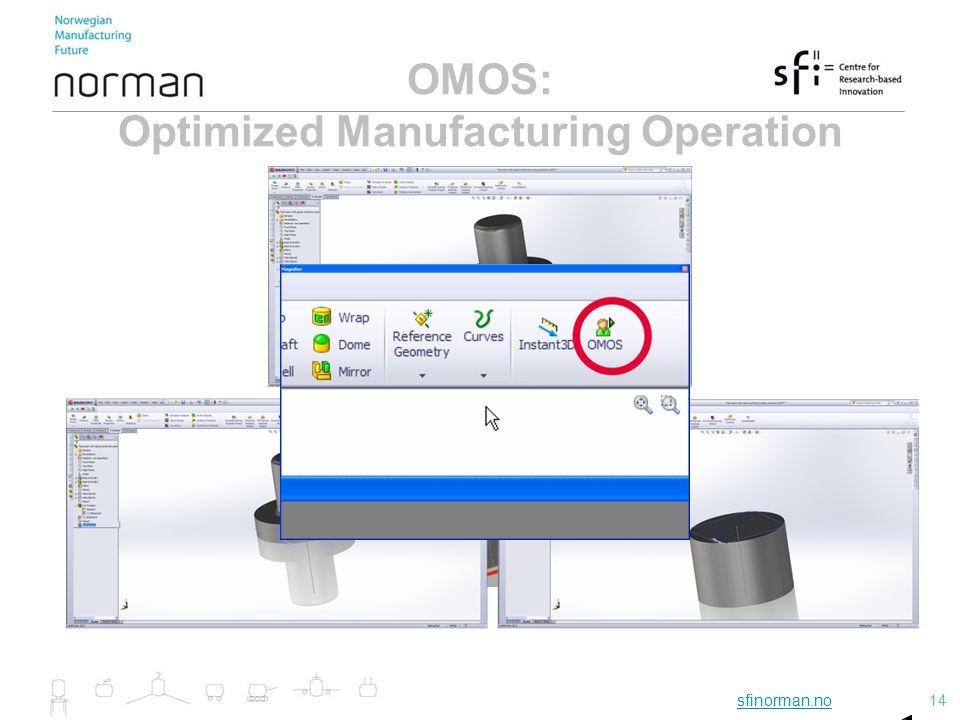 sfinorman.nosfinorman.no14 14 OMOS: Optimized Manufacturing Operation Sequence