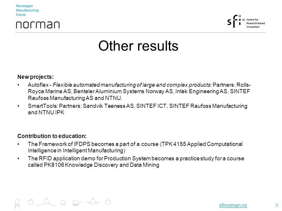 sfinorman.nosfinorman.no10 International collaboration within RA1 in 2012: Chairman from Industry for Joining Sub-Platform: SFI Norman and SINTEF Raufoss Manufacturing AS have worked actively in Manufuture by participating in the HLG.