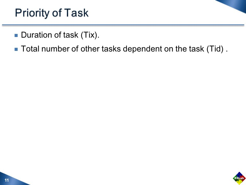 Duration of task (Tix). Total number of other tasks dependent on the task (Tid). 11