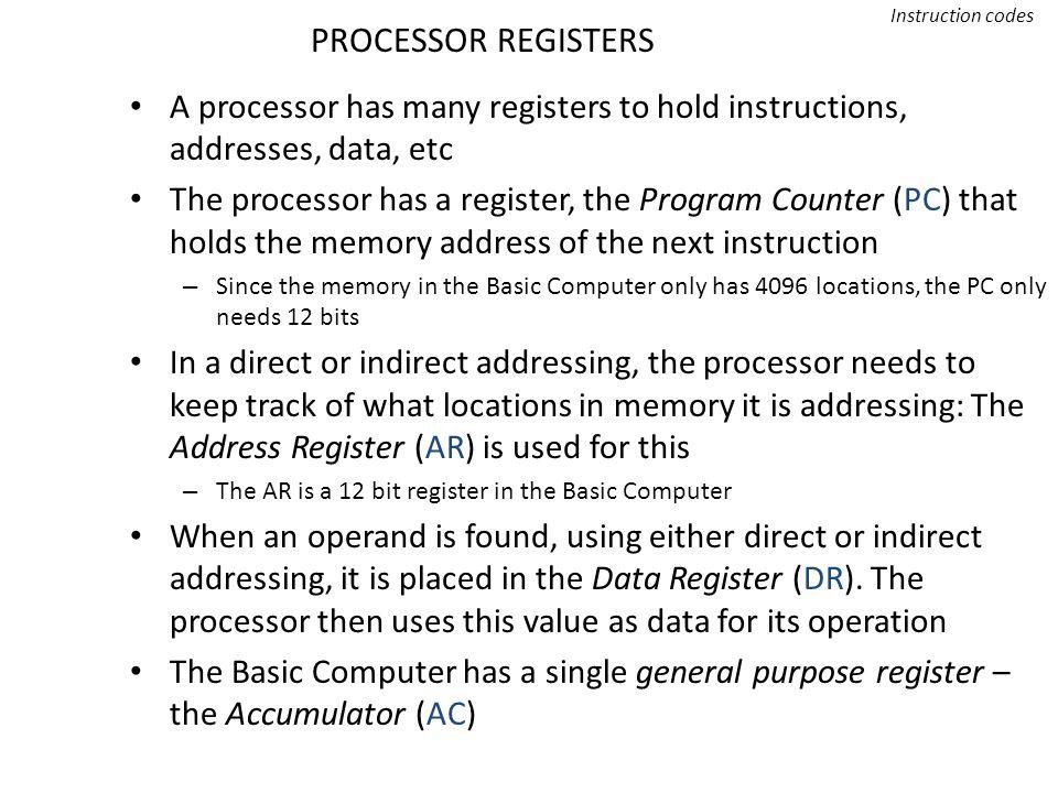 PROCESSOR REGISTERS Instruction codes A processor has many registers to hold instructions, addresses, data, etc The processor has a register, the Prog