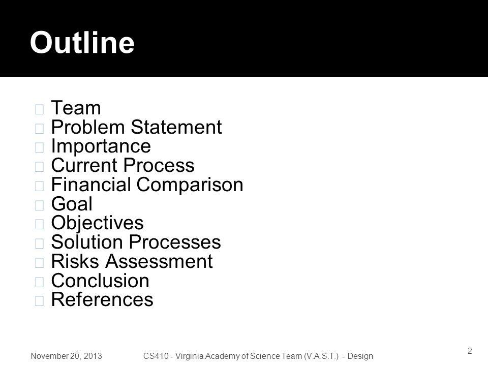 November 20, 2013CS410 - Virginia Academy of Science Team (V.A.S.T.) - Design Roles 23