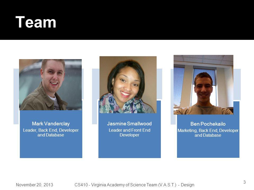 November 20, 2013CS410 - Virginia Academy of Science Team (V.A.S.T.) - Design Roles 24