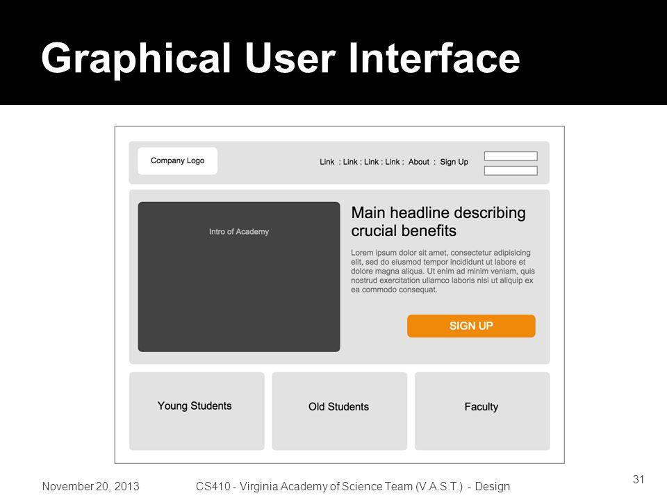 Graphical User Interface November 20, 2013CS410 - Virginia Academy of Science Team (V.A.S.T.) - Design 31