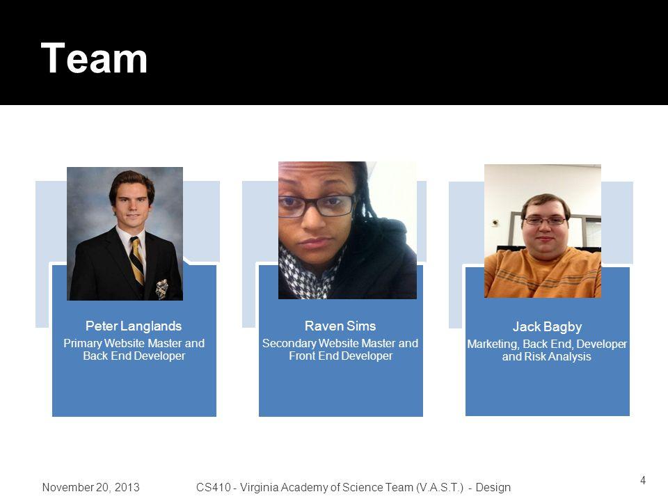 November 20, 2013CS410 - Virginia Academy of Science Team (V.A.S.T.) - Design Roles 25