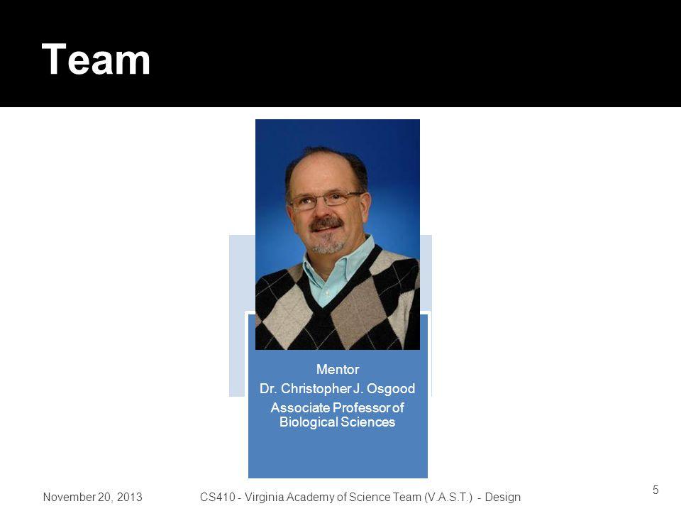 Team Mentor Dr. Christopher J.