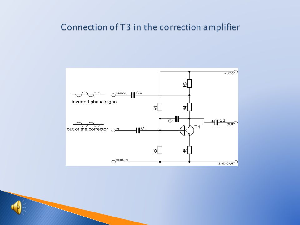  Scheme of connection T3 in correction amplifier  Connection of corrections of amplifier  Description of function of correction amplifier  Components specification of amplifier  Common unit of voltage and correction amplifier  Students activities