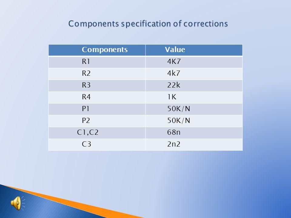 Components Value R1 4K7 R2 4k7 R3 22k R4 1K P1 50K/N P2 50K/N C1,C2 68n C3 2n2