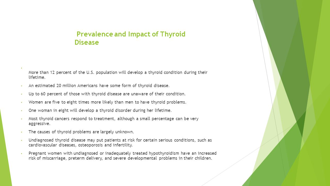 Prevalence and Impact of Thyroid Disease More than 12 percent of the U.S.