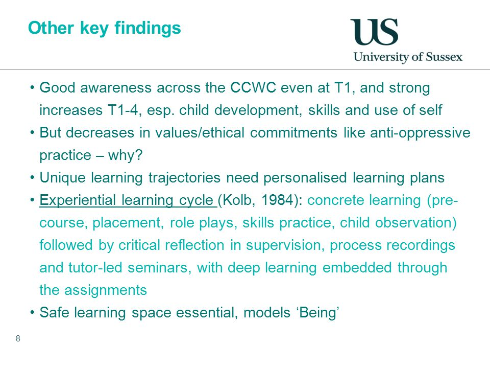 Other key findings Good awareness across the CCWC even at T1, and strong increases T1-4, esp.