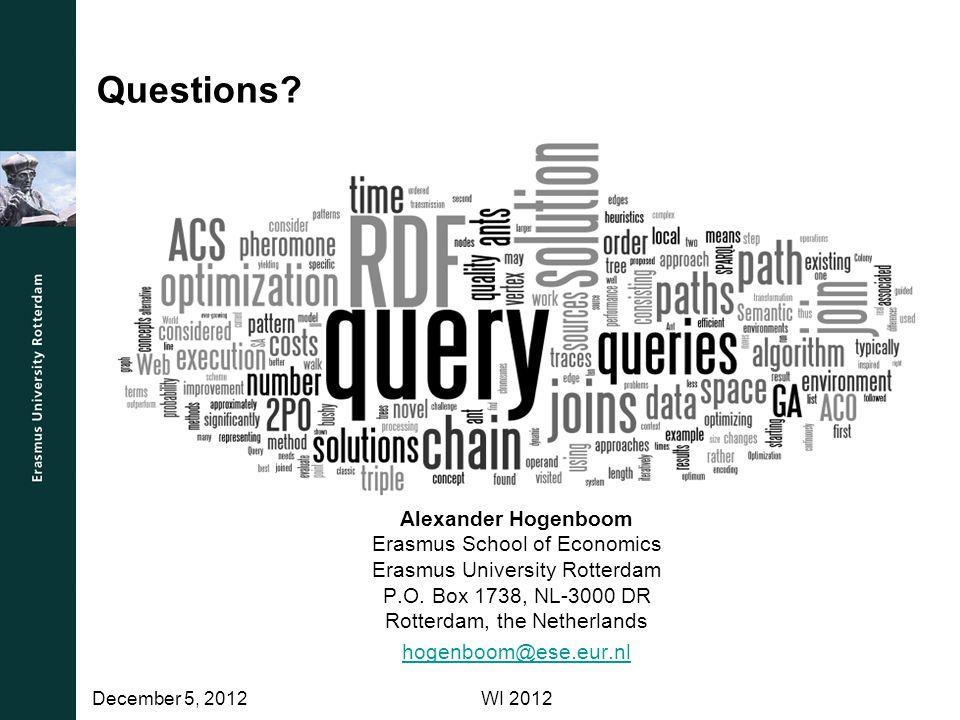 Questions.Alexander Hogenboom Erasmus School of Economics Erasmus University Rotterdam P.O.