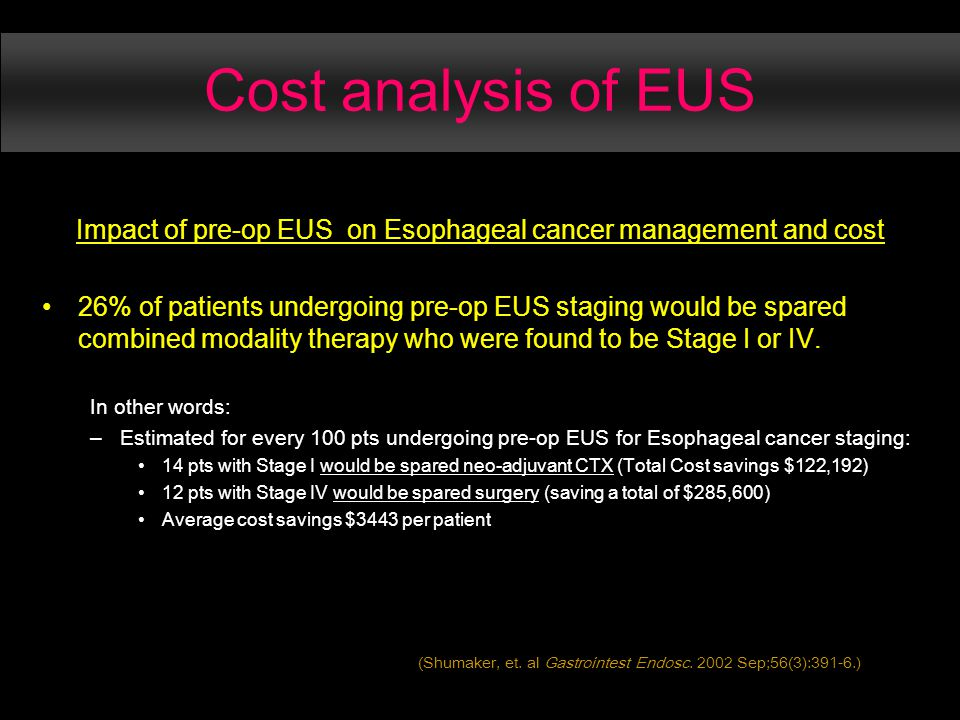 Cost analysis of EUS Impact of pre-op EUS on Esophageal cancer management and cost 26% of patients undergoing pre-op EUS staging would be spared combined modality therapy who were found to be Stage I or IV.