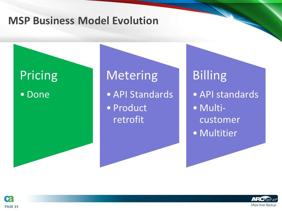 PAGE 15 MSP Business Model Evolution Pricing Done Metering API Standards Product retrofit Billing API standards Multi- customer Multitier