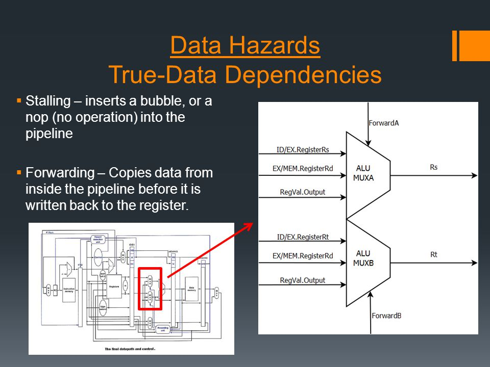 Data Hazards True-Data Dependencies  Stalling – inserts a bubble, or a nop (no operation) into the pipeline  Forwarding – Copies data from inside the pipeline before it is written back to the register.