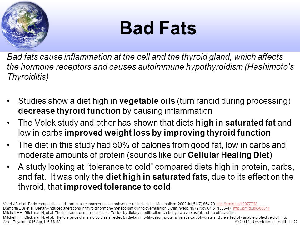 © 2011 Revelation Health LLC Bad Fats Bad fats cause inflammation at the cell and the thyroid gland, which affects the hormone receptors and causes au