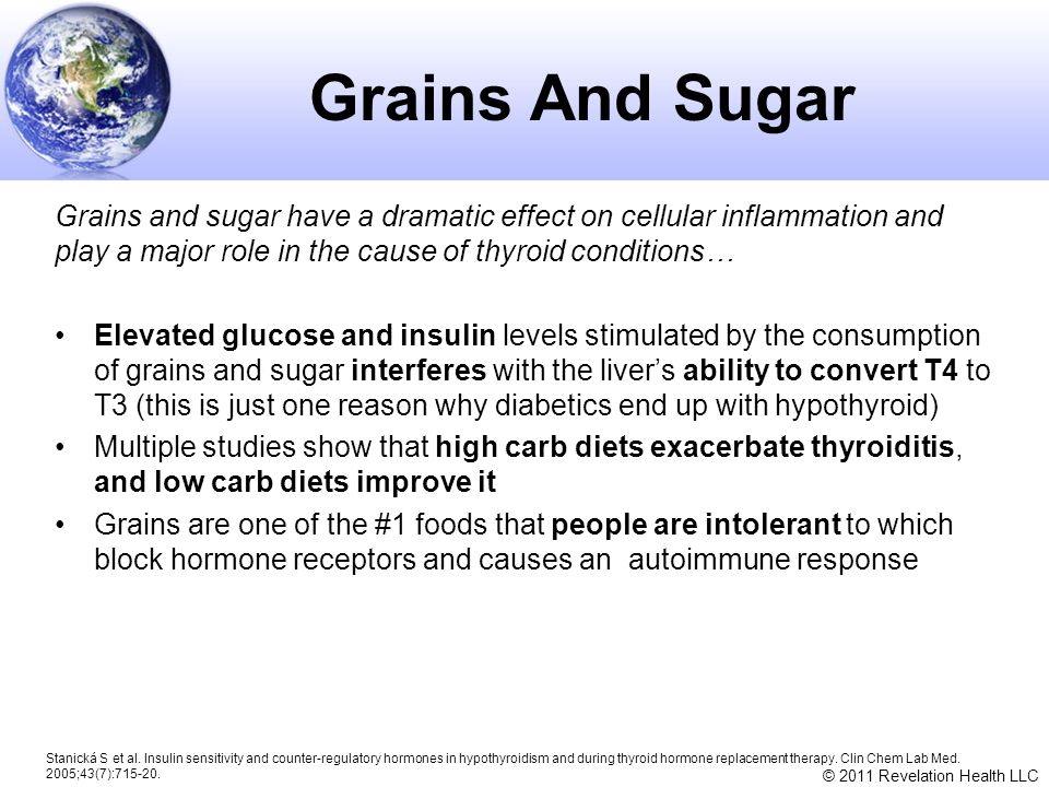 © 2011 Revelation Health LLC Grains And Sugar Grains and sugar have a dramatic effect on cellular inflammation and play a major role in the cause of t
