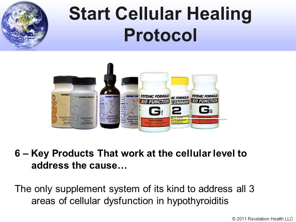 © 2011 Revelation Health LLC Start Cellular Healing Protocol 6 – Key Products That work at the cellular level to address the cause… The only supplemen