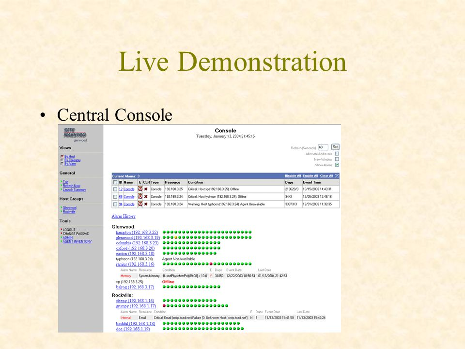 Live Demonstration Central Console