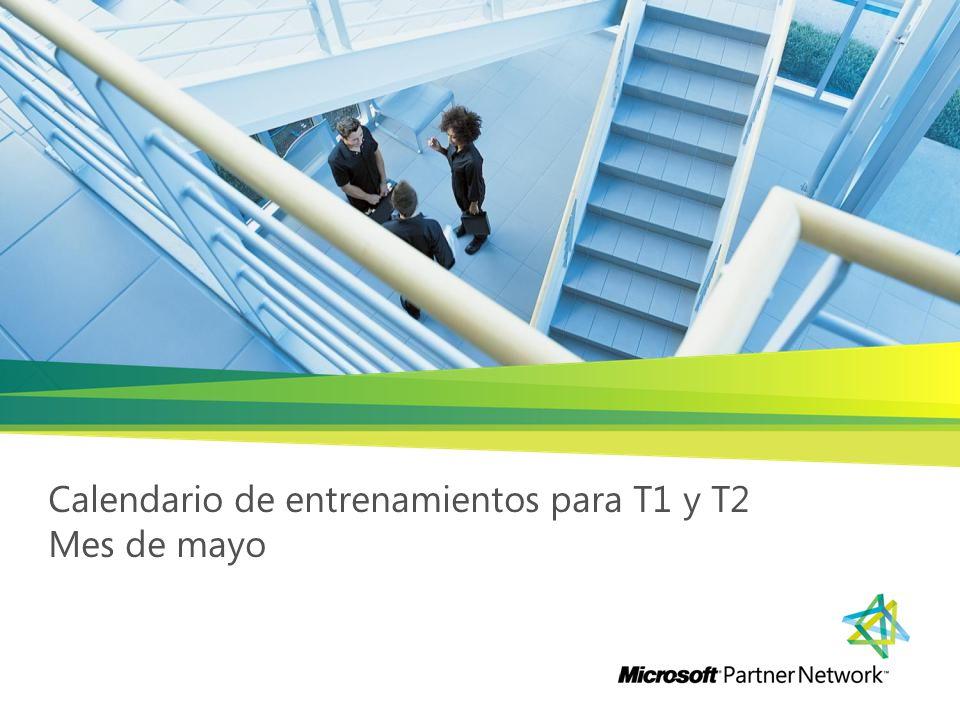 Calendario mes de mayo WorkloadCompetencia Tipo de EntrenamientoDíaMesHoraLiga de RegistroProductoNombre EntrenamientoCostoTipo Cross Platform SolutionsLearningLivemeeting25Mayo 10:00 AMhttps://www.livemeeting.com/cc/plc_wwlother/join?id=5974322010866419&role=attend&pw=n%5B%2887FtLearningReunion Socios de learningSales Business ProductivityN/ALivemeetingdel 2 al 5 deMayo 9:00 AM https://training.partner.microsoft.com/learning/app/management/RegistrationEx/LMS_Registration.aspx?UserMode=0 &ActivityId=719345&CallerURL=%2flearning%2fapp%2ftaxonomy%2flearnerSearch%2fLearnerSearch.aspx%3fUserMod e%3d0BPOSPractice Accelerator for BPOS Para partnes Gold y Silver que cuenten con 10 horas de soporteTechnical Business ProductivityN/ALivemeeting del 16 al 19 deMayo 9:00 AM https://training.partner.microsoft.com/learning/app/management/RegistrationEx/LMS_Registration.aspx?UserMode=0 &ActivityId=719345&CallerURL=%2flearning%2fapp%2ftaxonomy%2flearnerSearch%2fLearnerSearch.aspx%3fUserMod e%3d0BPOSPractice Accelerator for BPOS Para partnes Gold y Silver que cuenten con 10 horas de soporteTechnical Business ProductivityN/ALivemeeting16 al 19Mayo 9:00 AM https://training.partner.microsoft.com/learning/app/management/RegistrationEx/LMS_Registration.aspx?UserMode=0 &ActivityId=719359&CallerURL=%2flearning%2fapp%2ftaxonomy%2flearnerSearch%2fLearnerSearch.aspx%3fUserMod e%3d0Exchange ServerPractice Accelerator for Exchange Server 2010 Para partnes Gold y Silver que cuenten con 10 horas de soporteTechnical Business Productivity Content ManagementLivemeetingdel 3 al 6 deMayo 9:00 AM https://training.partner.microsoft.com/learning/app/management/RegistrationEx/LMS_Registration.aspx?UserMode=0&ActivityId=595362& CallerURL=%2flearning%2fapp%2ftaxonomy%2flearnerSearch%2fLearnerSearch.aspx%3fUserMode%3d0Practice Accelerator for Sharepoint Server 2010 Para partnes Gold y Silver que cuenten con 10 horas de soporteTechnical Application Platform Business IntelligenceLivemeeting10Mayo 12:00 PM http