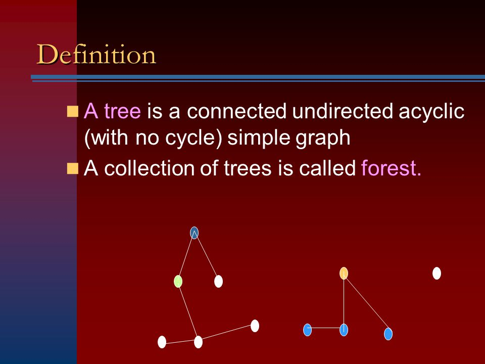 Definition A tree is a connected undirected acyclic (with no cycle) simple graph A collection of trees is called forest.