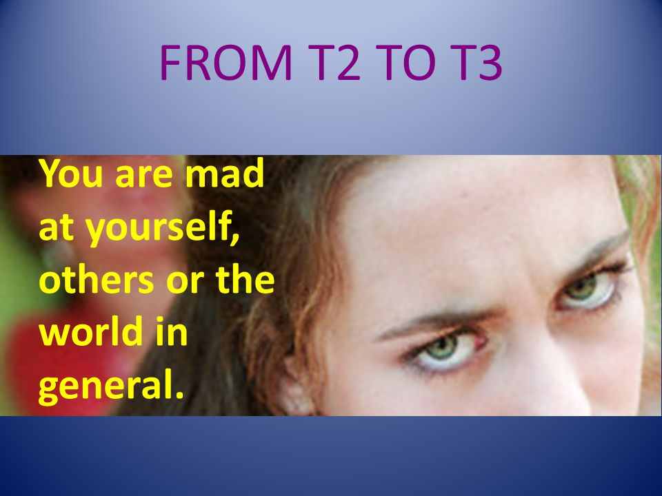 FROM T2 TO T3 You are mad at yourself, others or the world in general.