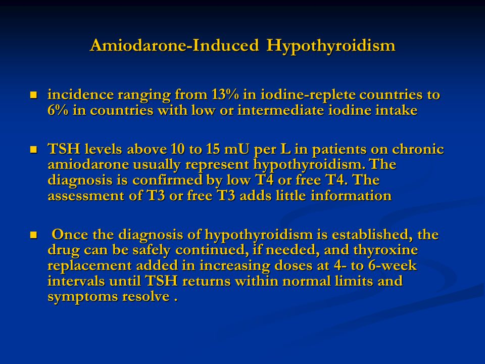 Amiodarone-Induced Hypothyroidism incidence ranging from 13% in iodine-replete countries to 6% in countries with low or intermediate iodine intake inc