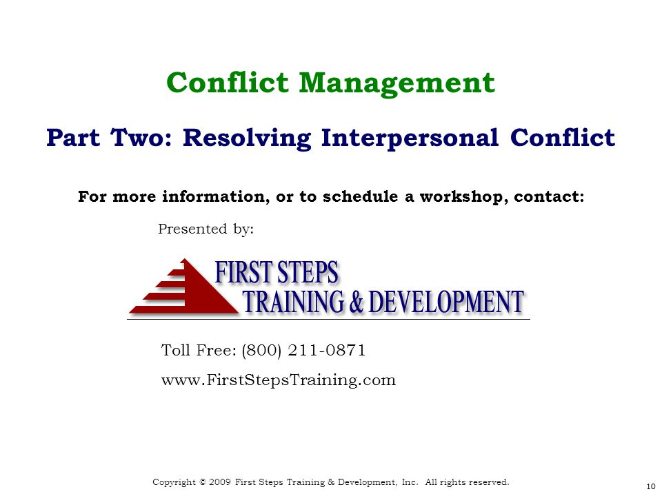 Copyright © 2009 First Steps Training & Development, Inc.