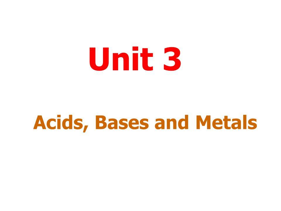 Acids and metals Acids react with some metals to release hydrogen.