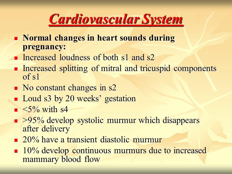 Cardiovascular Changes Cardiovascular Changes Heart rate increases (10-20%) Heart rate increases (10-20%) Stroke volume increases (10%) Stroke volume increases (10%) Cardiac output increases (30-50%) Cardiac output increases (30-50%) Mean arterial pressure decreases (10%) Mean arterial pressure decreases (10%) Peripheral resistance decreases (35%) Peripheral resistance decreases (35%)