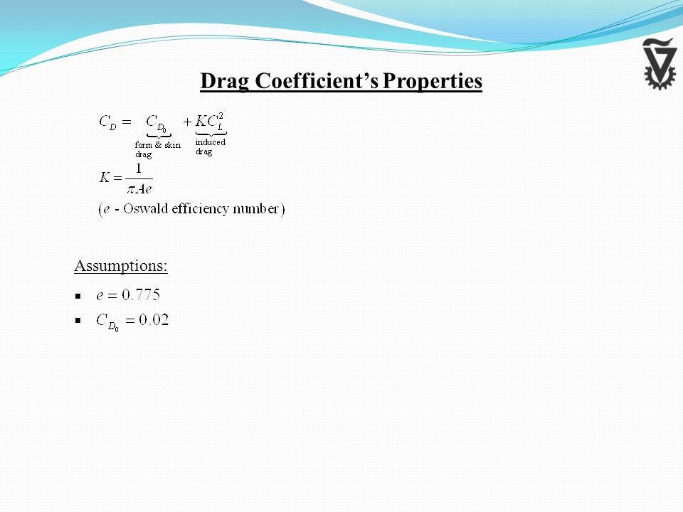 Assumptions:   Drag Coefficient's Properties