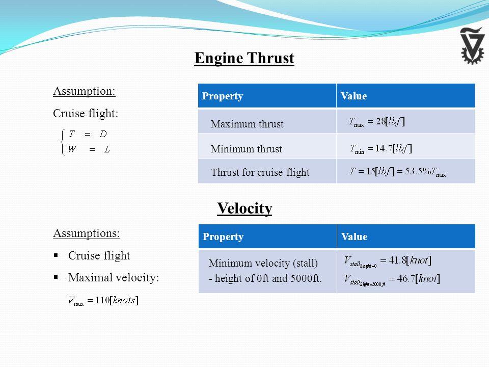 ValueProperty Velocity ValueProperty Maximum thrust Minimum thrust Thrust for cruise flight Minimum velocity (stall) - height of 0ft and 5000ft.