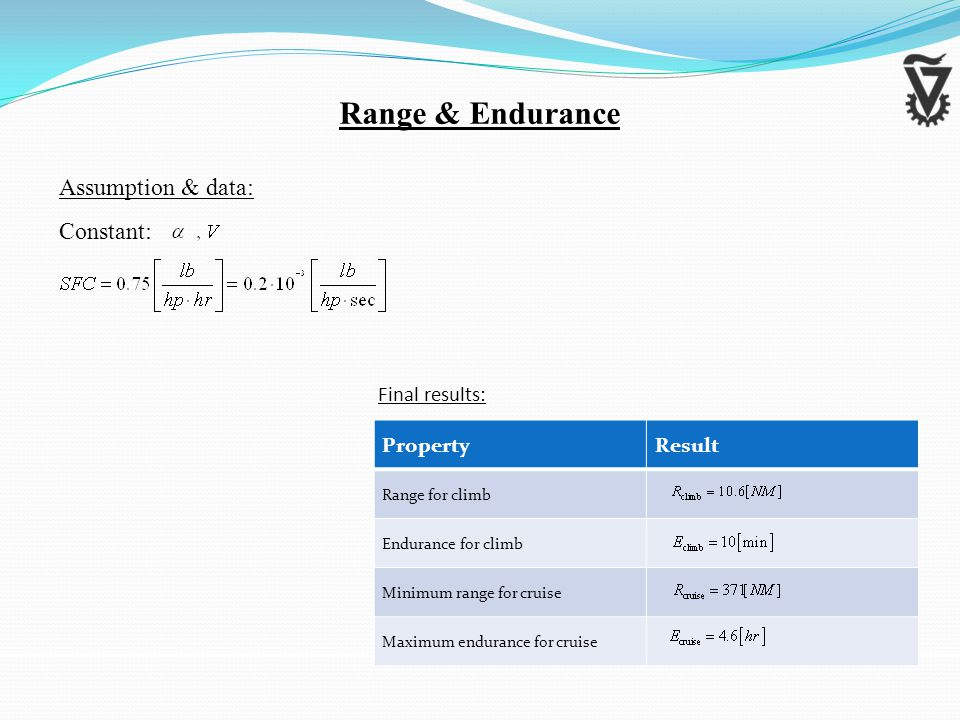 Assumption & data: Constant: Range & Endurance ResultProperty Range for climb Endurance for climb Minimum range for cruise Maximum endurance for cruise Final results: