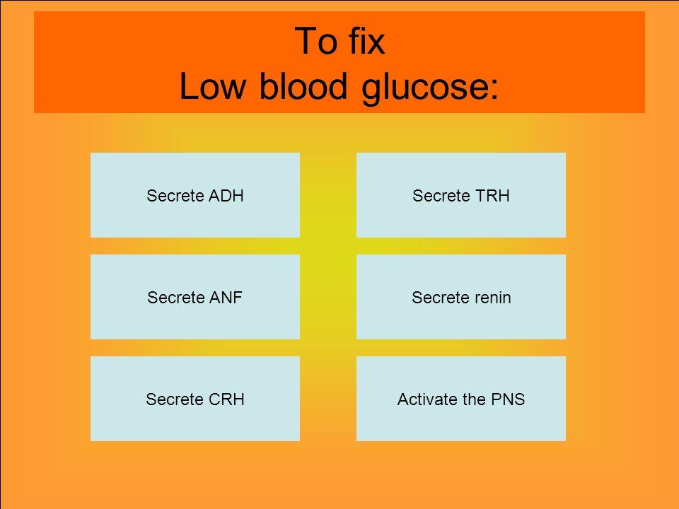 To fix Low blood glucose: Secrete ADH Secrete CRHActivate the PNS Secrete renin Secrete TRH Secrete ANF