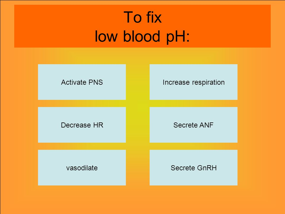 To fix low blood pH: Activate PNS vasodilateSecrete GnRH Secrete ANF Increase respiration Decrease HR